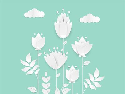 Paper cut flowers bundle decorative plant botanic greeting card illustration vector paper cut flowers papercut