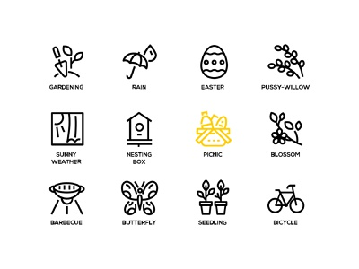 Spring icons weather seasonal snowdrop springtime spring line icon vector style design