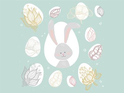 Happy Easter illustrations easter bunny easter egg spring easter flat design vector style design illustration