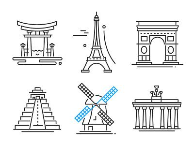 Landmarks line icons tourism architecture building traveling landmark icon line vector style design