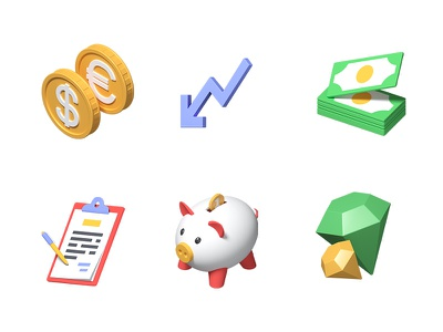 Volume 3d icons finance business collection 3d art 3d icons 3d icon style design