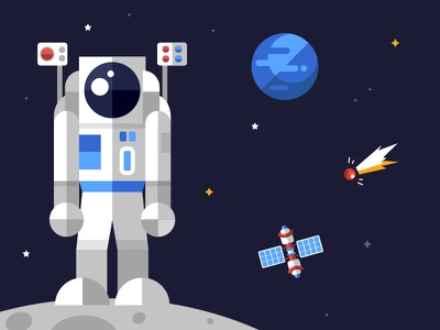 Space collection spaceman cosmic visual aid solar system exploration space collection icon flat design vector style design