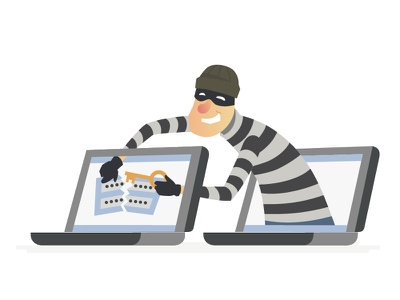 Thief - Set of Cartoon Illustrations hacker cyber finance protection safety thief character flat design vector style illustration