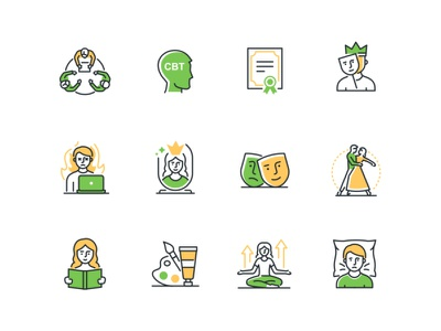 Mental Health Highlight Icons Bundle support emotional stress mentalhealth psychology line icon vector style design