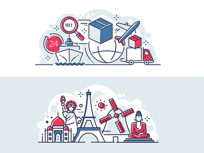 Logistics and world famous landmarks banner transportation cargo shipping tourism landmark travel logistics composition line vector style design illustration