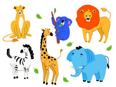 Cute exotic animals - set of character lion koala zebra elephant giraffe wildlife animal exotic composition character flat design vector style design illustration