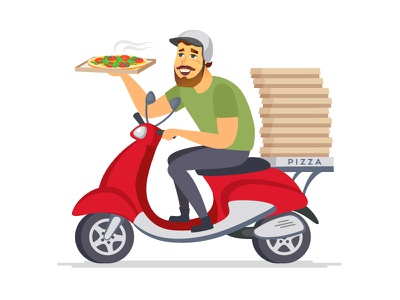 Delivery service illustrations characterdesign cartoon character pizza parcel food logistics delivery character flat design vector style design illustration