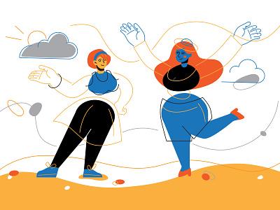 Happy girls illustration character design casual park walk girl women character flat design vector style design illustration