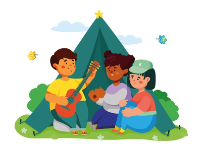 Children's Leisure Activities character design kids hobby tent kite camping leisure children character vector style design illustration