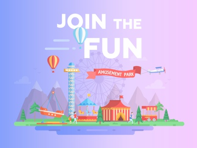 Amusement park illustration ferris wheel funfair amusement park city flat design vector style design illustration