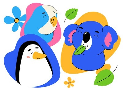 Animals avatars parrot penguin koala wildlife avatar animal character design vector style illustration
