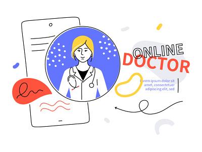 Online doctor - illustration line smartphone digital healthcare medicine online vector style illustration design