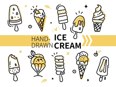 Hand-drawn ice cream outline linear hand-drawn set food ice cream line vector style illustration design