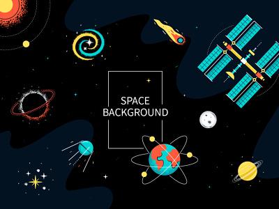 Space illustration space travel orbit station exploration space flat vector style illustration design