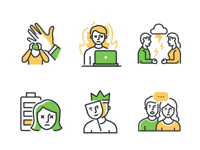 Highlight Icons Part II icon design linear line outline psychology mental health dogs collection icon vector style design