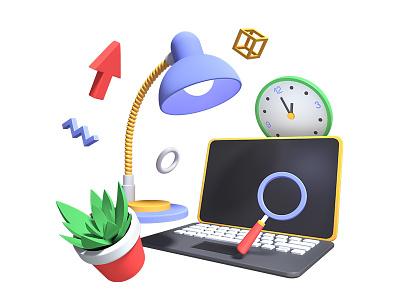 Office 3d bundle task management laptop office 3d art 3d illustration style illustration design