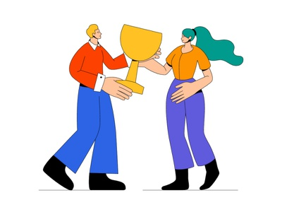 Business success - illustration agreement partnership award victory trendy character flat design vector style illustration design