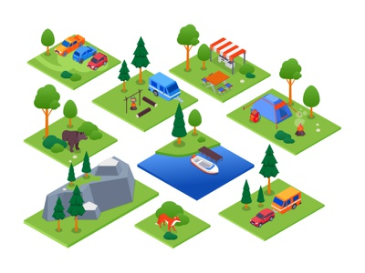 Camping - isometric elements travel hiking tent isometric illustration camping isometric design isometry flat design vector style illustration design