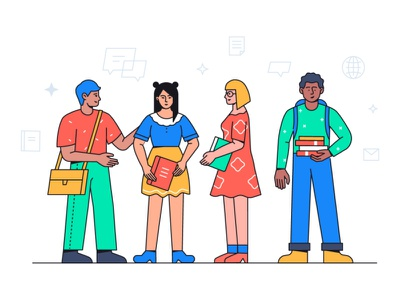 Students - flat illustration school education student character flat design vector style illustration design
