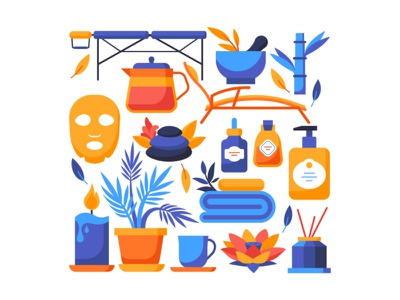 Wellness and spa objects body skin beauty care wellness spa set object vector style design