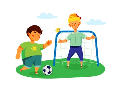 Children playing football game sport leisure play football children character vector style illustration design