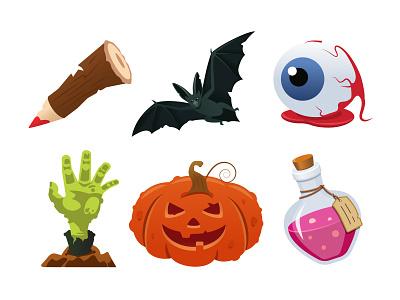 Halloween bundle holiday symbol creepy scary object halloween character flat design vector style illustration design