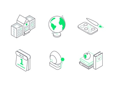 School isometric icons learning school education line isometry line isometric icons isometry vector style design