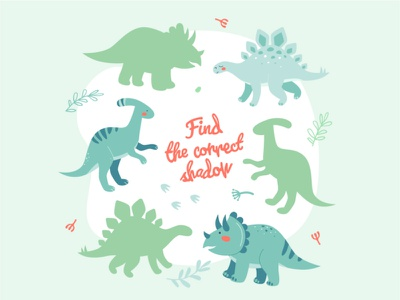 Learning game with dinosaurs children game animal dino dinosaur character flat design vector style illustration design