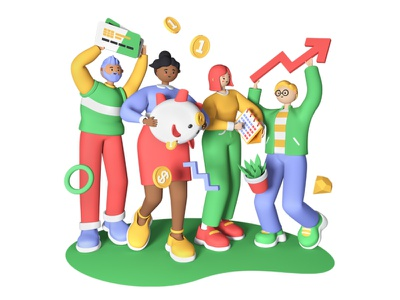 Great Teamwork 3D - Illustrations team teamwork business 3d art 3d illustration character style illustration design