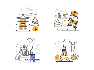 Sightseeing - line banners kremlin pagoda eiffel tower pisa tower architecture vacation place travel tourism landmark line icon vector style illustration design