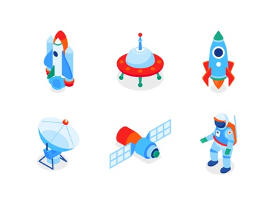 Space isometric icons astronaut exploration space isometric design isometric icon flat design vector style illustration design
