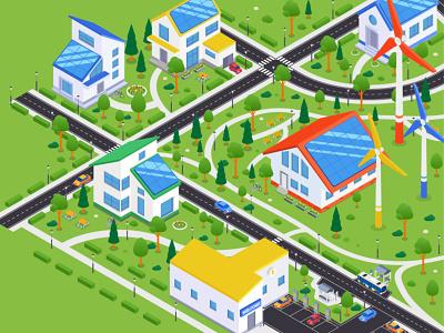City district isometric illustration eco village city disctrict town city isometry isometric illustration flat design vector style illustration design