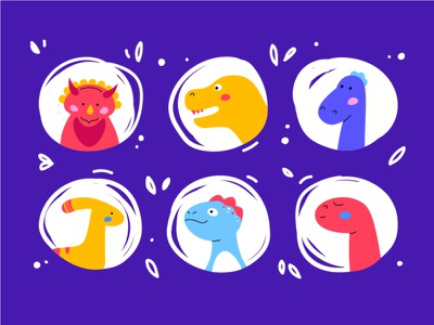 Dino Faces cute animal avatar face collection dino dinosaur character flat design vector style illustration design
