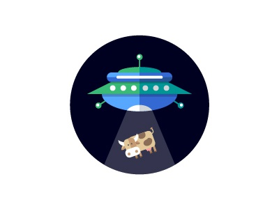 UFO Kidnapping a Cow background spaceship design flat space icon abduction kidnapping cow ufo