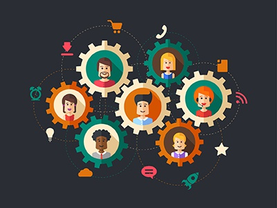 Work In Team. Connecting People illustration icons team support avatar connect wheels cogs network people