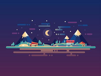 Night Landscape modern design flat illustration moon tourism landscape mountains midnight night