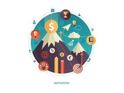 Motivation - Flat Design Composition achievement mountain success goal design flat illustration composition motivation start up business