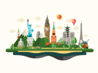 Travel Destinations Illustration with World Famous Landmarks