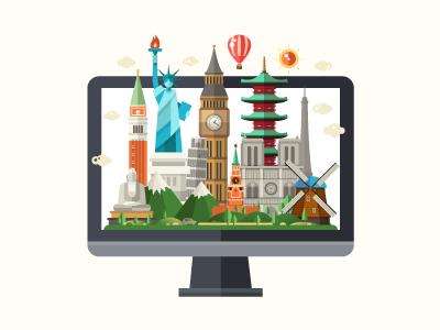 Travel Agency Website world laptop statue landmark monument asia europe places famous website agency travel