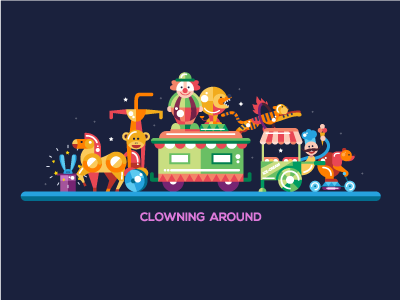 Clowning Around - Circus Composition event show fun party animal design flat icon clowning around composition circus clown