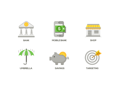 Business and Finance Icons app piggy umbrella targeting savings investments shop bank business finance icons flat design