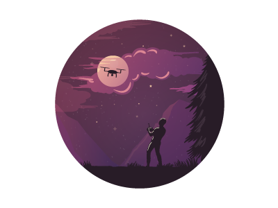 Man, Night, Quadrocopter. hobby circle composition illustration landscape moon night copter quadrocopter guy male man