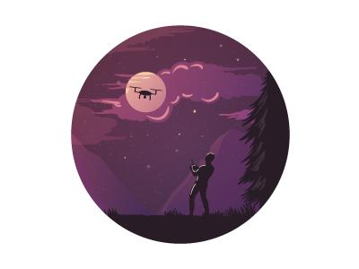Man, Night, Quadrocopter.