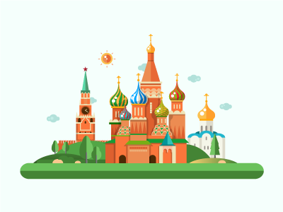 Moscow Kremlin - Flat Design Illustration traveling composition flat design illustration famous landmark kremlin travel russia moscow