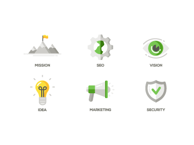 Flat Design Business Icons icon security marketing idea vision seo mission design flat business