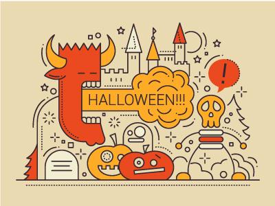Halloween - Line Design Illustration pumpkin skeleton monster illustration flat design line trick or treat party halloween