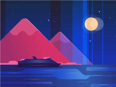Voyage & Moon Light romantic voyage landscape nature ocean illustration mountain liner ship sea moon night