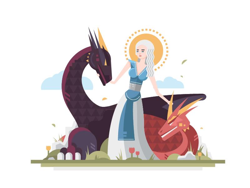 Fire and Blood! game of thrones targaryen daenerys dragon girl magic