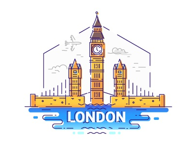 London - line design travel illustration composition illustration design line travel big ben bridge great britain uk england london