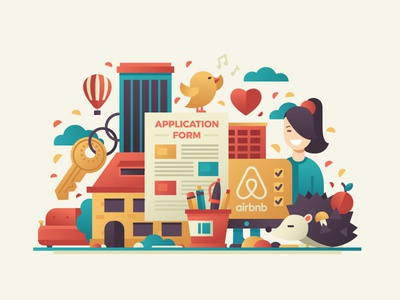Airbnb Service Project Illustration icons illustration city rent house girl flat design
